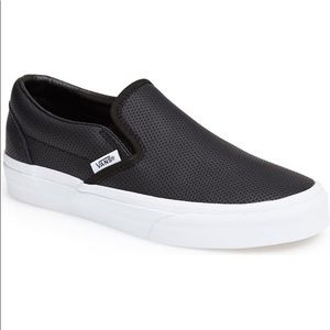 VANS Classic Perforated Black Leather Slip-on